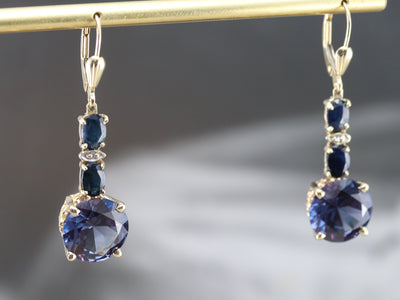 Synthetic Alexandrite Diamond and Sapphire Earrings