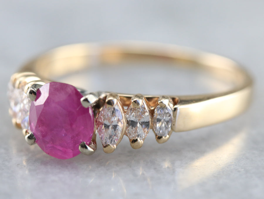 Gold Ruby and Marquise Diamond Ring