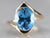 Yellow Gold Blue Topaz Bypass Ring