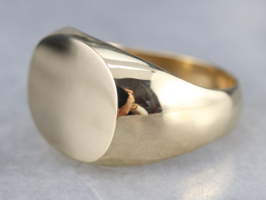 Heavy Yellow Gold Signet Ring