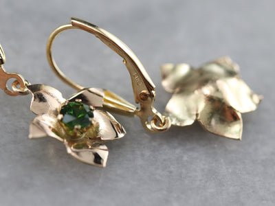 Demantoid Garnet Floral Drop Earrings