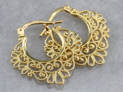 Vintage Gold Filigree Hoop Earrings