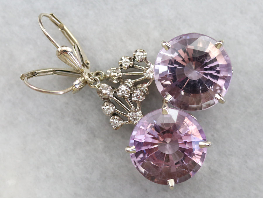 Amethyst and Diamond Cluster Drop Earrings