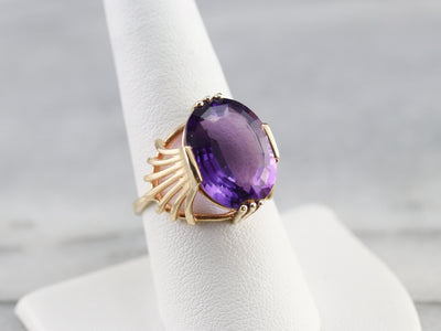 Amethyst with Fanned Shoulder Cocktail Ring