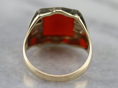 Bold Men's Carnelian and Gold Ring