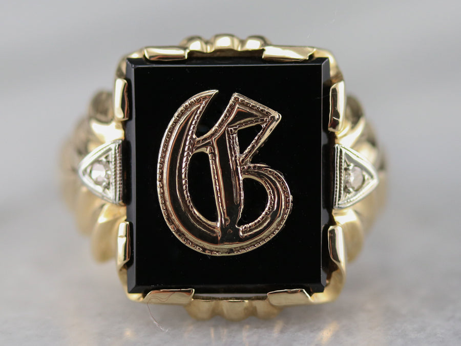 "Onyx and Diamond Old English ""C"" Initial Ring"