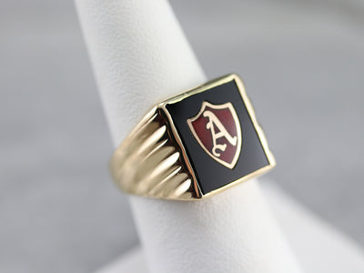 "Vintage Onyx and Enamel ""A"" Initial Ring"