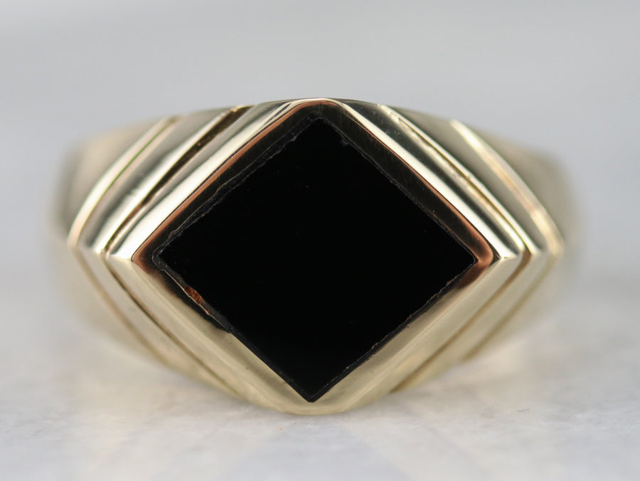 Sleek Gold Black Onyx Ring