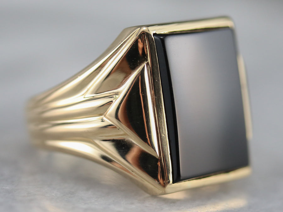 Retro Era Black Onyx Men's Ring