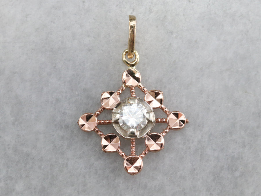Mixed Metal Diamond Pendant