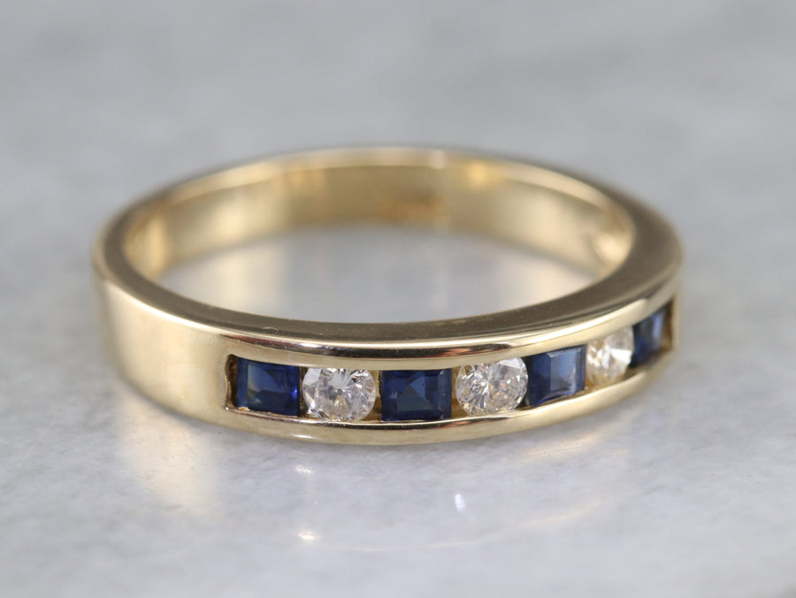 Sapphire Diamond Channel Set Wedding Band