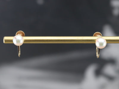 Vintage Cultured Pearl Screw Back Earrings