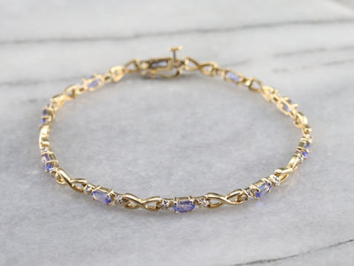 Tanzanite and Diamond Tennis Bracelet