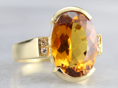 Citrine and Diamond Statement Ring