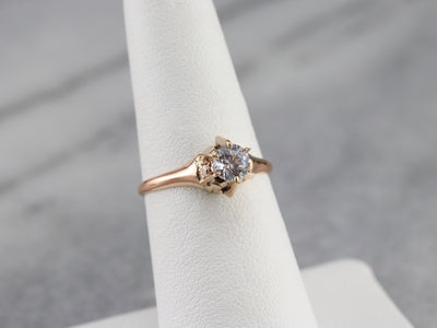 Rose Gold White Sapphire Solitaire Ring