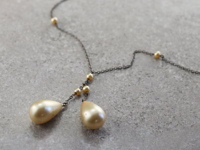 Vintage Glass Pearl Beaded Necklace