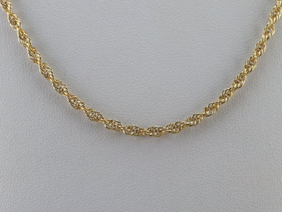 Long Gold Rope Twist Chain Necklace
