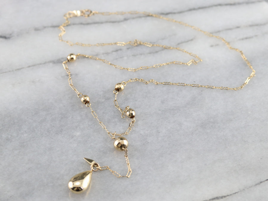 Vintage Gold Lariat Chain Necklace