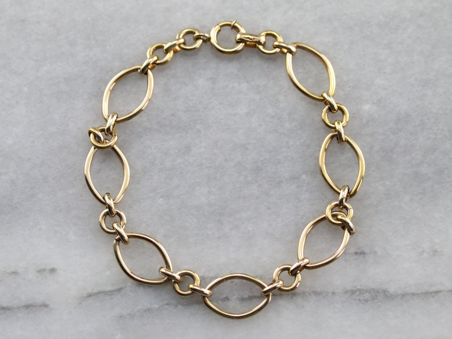 Yellow Gold Oval Link Bracelet