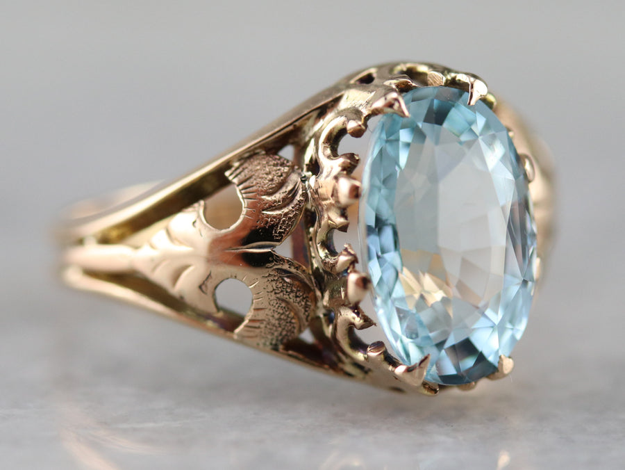 Victorian Aquamarine Solitaire Ring