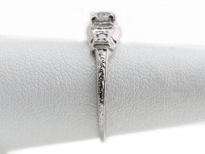 Old Mine Cut Diamond Platinum Ring by Elizabeth Henry