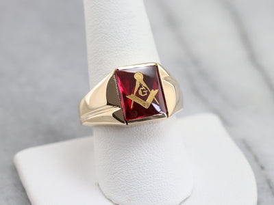 Men's Ruby Red Glass Masonic Ring