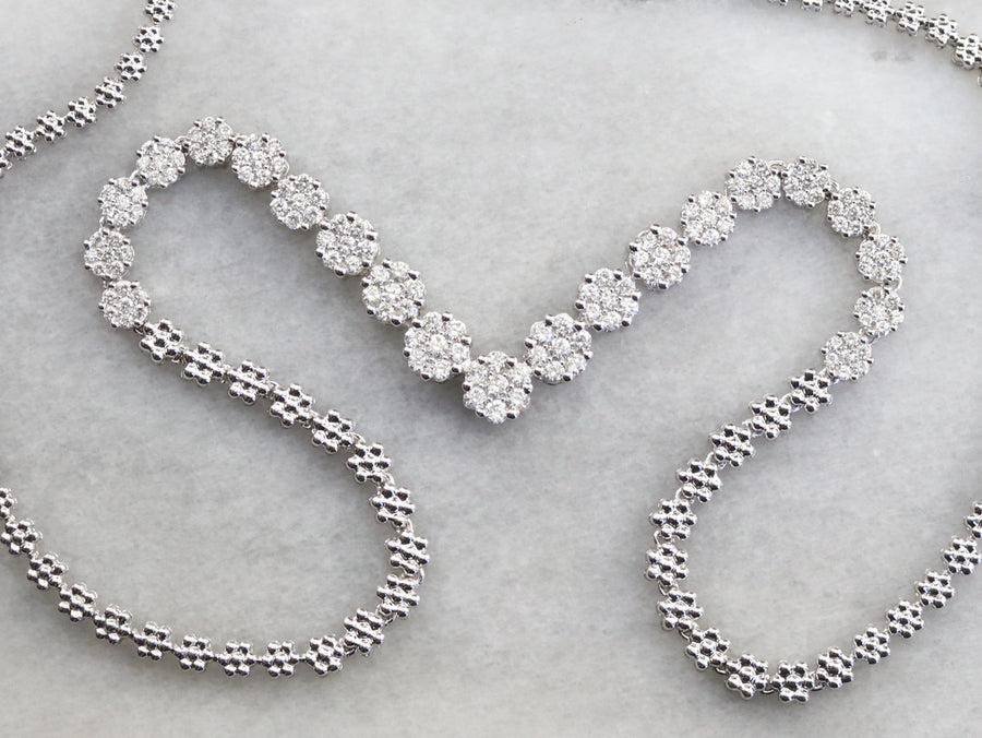 White Gold Floral Diamond Necklace