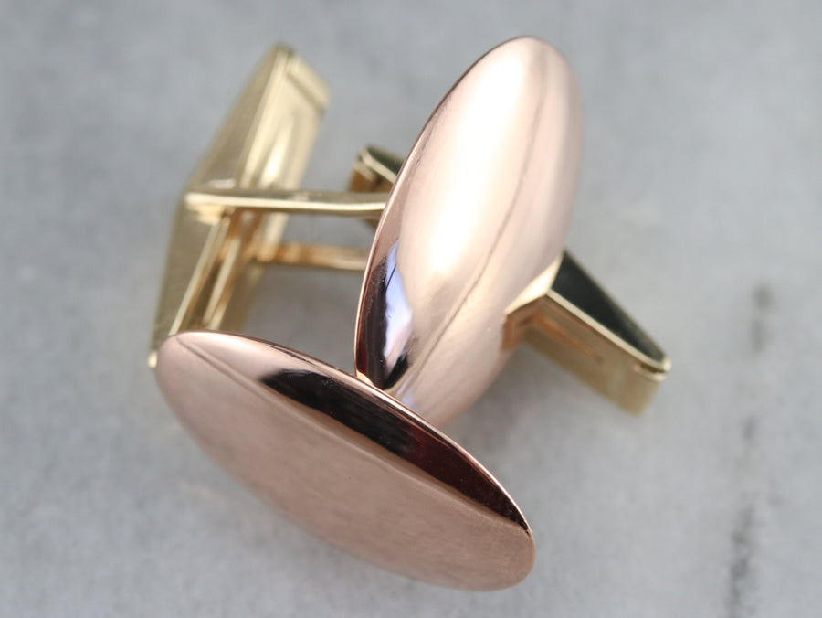 Vintage Yellow and Rose Gold Cufflinks