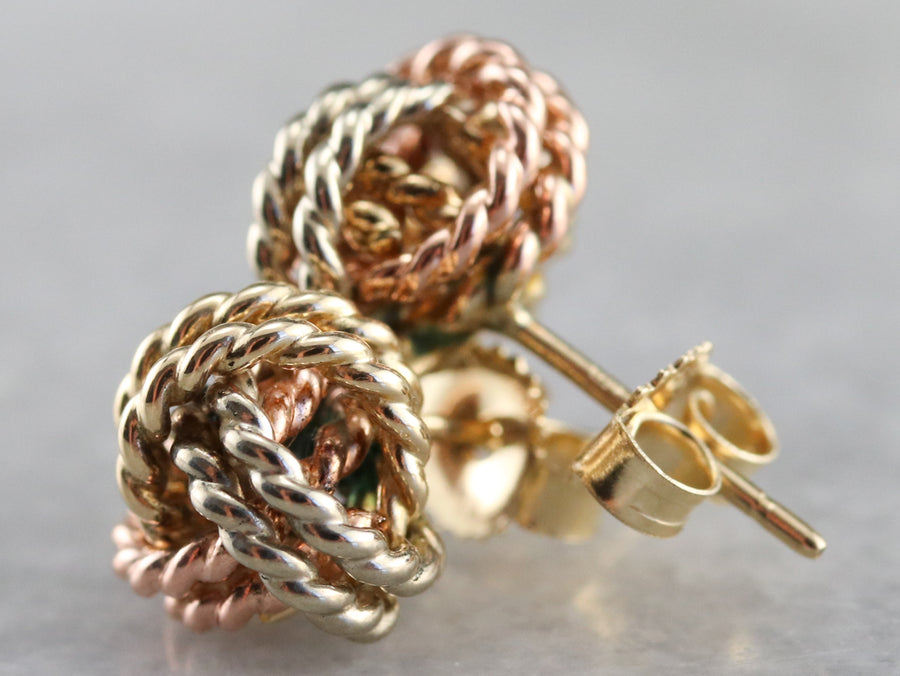Tri-Color Gold Lover's Knot Stud Earrings