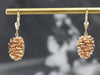 Two Tone Pine Cone Drop Earrings