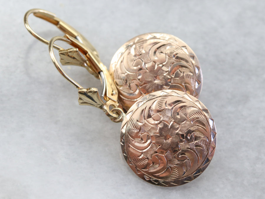 Gold Engraved Floral Drop Earrings