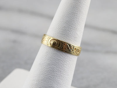 Engraved Yellow 18K Gold Band