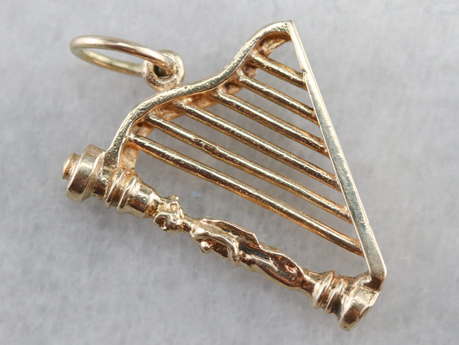 Yellow Gold Harp Charm