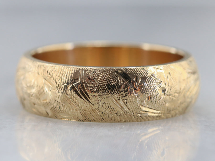 Engraved Yellow Gold Band