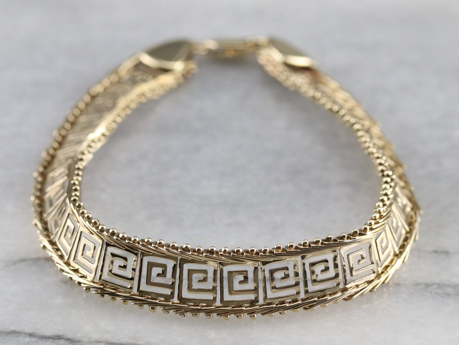 Gold Greek Key Pattern Bracelet