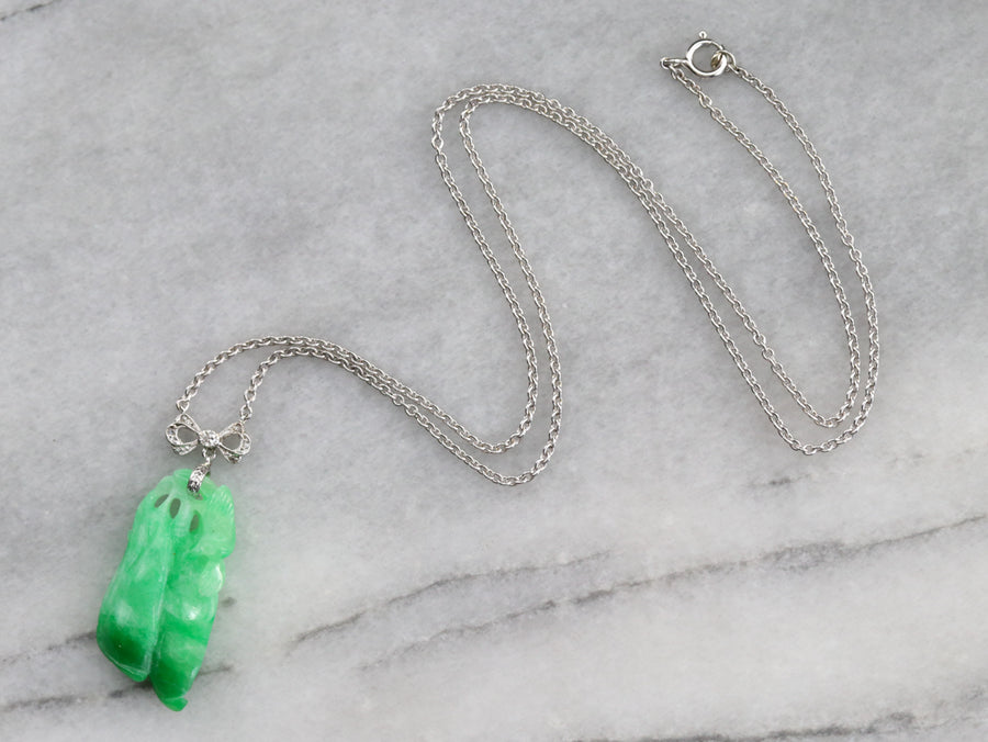 Carved Jade and Rose Cut Diamond Necklace