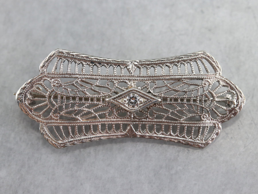 Sterling Silver Art Deco Diamond Pin