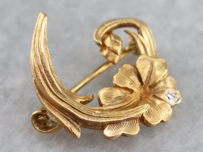 Diamond Art Nouveau Floral Pin