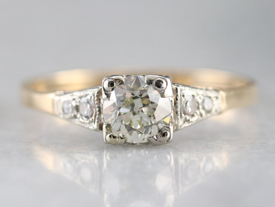 Retro Old Mine Cut Diamond Engagement Ring