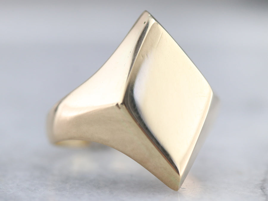 Gold Marquise Shaped Signet Ring