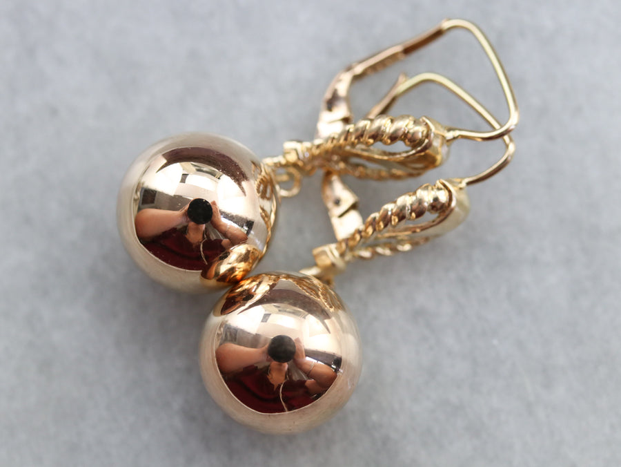 Gold Rope Twist Ball Drop Earrings