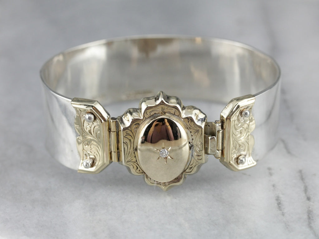 Diamond Mixed Metal Bangle Bracelet