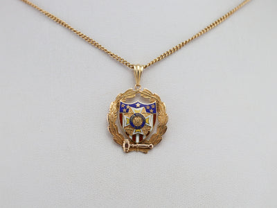 Gold Ladies Auxiliary V.F.W Pendant