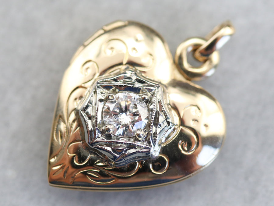 Two Tone Diamond Heart Shaped Locket