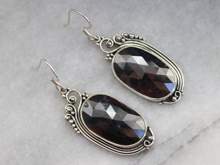Faceted Corundum Drop Earrings