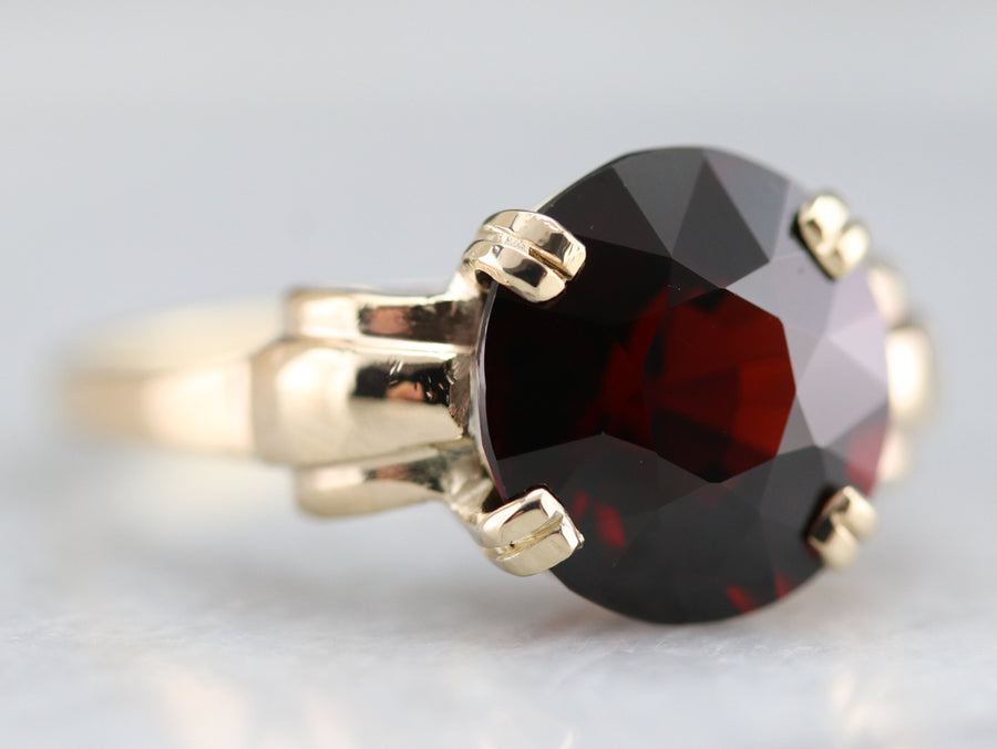 Retro Era Garnet Solitaire Ring