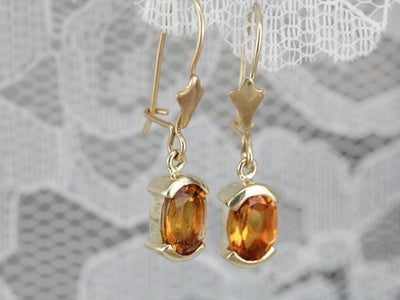 Citrine Gold Drop Earrings