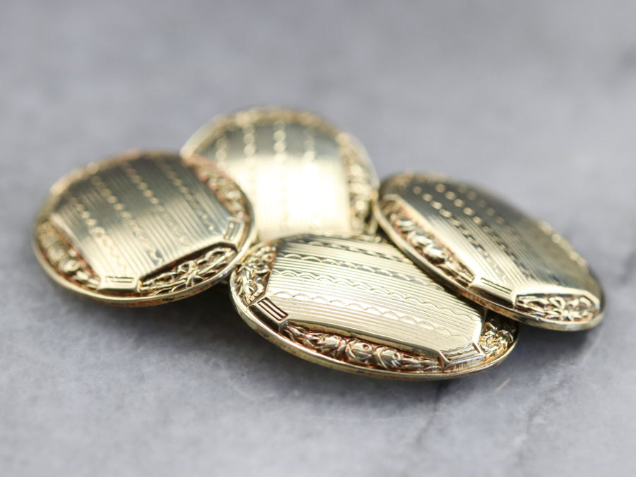 Gold Late Art Deco Etched Cufflinks