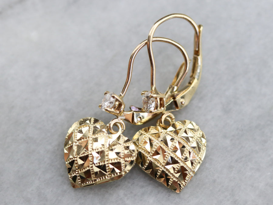 Gold Diamond Heart Drop Earrings