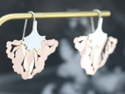 Floral Two Tone Drop Earrings